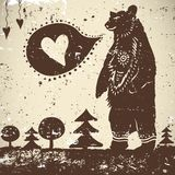 Wild animal background Bear with a heart Royalty Free Stock Image
