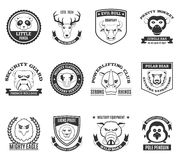 Wild Animal Black White Labels Set Royalty Free Stock Photography