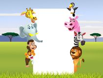 Wild animal cartoon with blank sign Stock Image