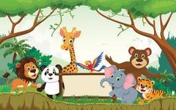 Wild animal cartoon with blank sign stock illustration