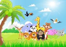 Wild Animal cartoon in the sunny garden Stock Photo