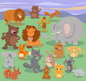 Wild animal characters group Royalty Free Stock Image