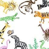 Wild animal flat lay and free copy space frame. Crayon like kids hand drawn giraffe, lion, monkey, zebra, crocodile. stock illustration