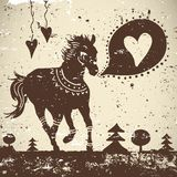 Wild animal grungy background with horse Stock Photography