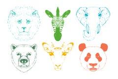 Wild animal heads. Wild animal heads. Vector illustration.  on a white background Stock Photo