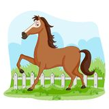 Wild animal Horse in jungle forest background vector illustration