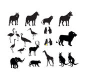 Wild Animal Icons Set as Black Vector Silhouettes Isolated on White Background Stock Photos