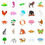Wild animal icons set, cartoon style. Wild animal icons set. Cartoon set of 25 wild animal vector icons for web isolated on white background Royalty Free Stock Photo