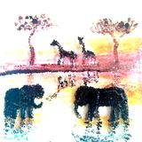 Wild Animal Illustration Elephants and Giraffe at Sunset. Illustration of two giraffe at the waterside and two elephants in the water at sunset. The sun is stock illustration