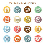 Wild animal long shadow icons Royalty Free Stock Images