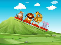 Wild animal riding on red wagon Stock Photography
