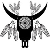 Wild animal skull in black and white Aztec style feathers,  inspired by hand drawn art and native American people tattoos and art Royalty Free Stock Photo