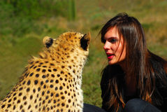 Wild animal whisperer Royalty Free Stock Photography