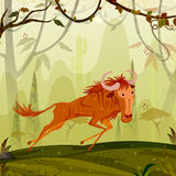 Wild animal Wildebeest in jungle forest background. In vector Stock Photos