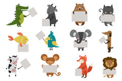 Wild animal zoo with clean plate vector icons set. Wild animal zoo strike clean plate board vector cartoon set. Wild vector animals. Jungle animals. Pets Stock Photography