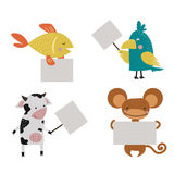 Wild animal zoo strike with clean plate board vector. Wild animal zoo strike with clean plate board vector cartoon set. Jungle mammal and bird silhouette saying Stock Images