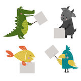 Wild animal zoo strike with clean plate board vector. Wild animal zoo strike with clean plate board vector cartoon set. Jungle mammal and pets silhouette saying Stock Photo