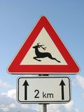 Wild animals. Road sign - wild forest animals on the road Royalty Free Stock Photo