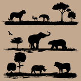 Wild animals. Silhouette vector illustration Stock Image