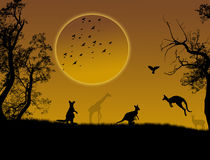 Wild animals. Silhouette on beautiful  landscape and sun,  illustration Royalty Free Stock Photography