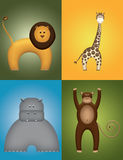 Wild Animals. Leo, giraffe, hippo and monkey embossed illustration Stock Images