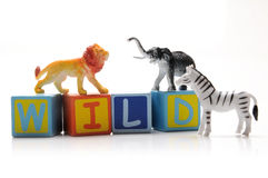 Wild animals. Toy wild animals on white background Royalty Free Stock Images
