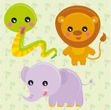Wild animals. Illustration of wild animals in the background with palm Royalty Free Stock Photography