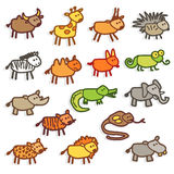 Wild animals. Vector color icons - wild animals Royalty Free Stock Image