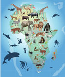 Wild animals in Africa illustration. Illustration with wild animals in Africa stock illustration