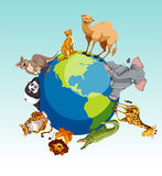 Wild animals around the earth Royalty Free Stock Images