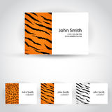 Wild animals business card set Royalty Free Stock Images