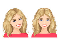The young woman's face in two views. Vector illustration. Royalty Free Stock Images