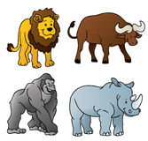 Wild Animals Cartoon. This illustration contains 4 cartoons of wild animals found in Africa - a lion, a buffalo, a gorilla and a rhino. Enjoy royalty free illustration