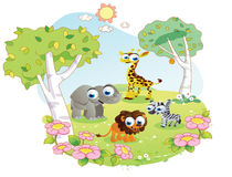 Wild animals cartoon at the flower garden Royalty Free Stock Photo