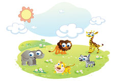 Wild animals cartoon at the garden Royalty Free Stock Images