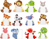 Free Wild Animals Cartoon Holding Blank Sign Royalty Free Stock Photos - 123696168