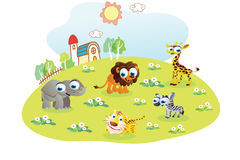 Wild animals cartoon in the home garden Royalty Free Stock Photography