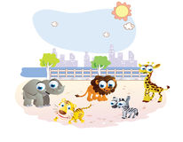 Wild animals cartoon at the park Stock Images