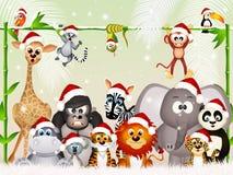 Wild animals at Christmas. Illustration of wild animals at Christmas stock illustration