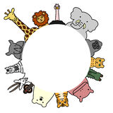 Wild animals circle with copy space Stock Photography