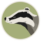 Wild animals collection Badger Geometric style icon round Stock Images