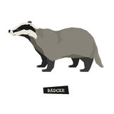 Wild animals collection Badger Geometric style Stock Photo