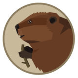 Wild animals collection Beaver Geometric style icon round Royalty Free Stock Photo