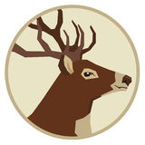 Wild animals collection Deer Geometric style icon round Stock Photography