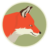 Wild animals collection Head profile of Red Fox Geometric style Royalty Free Stock Photos
