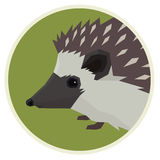 Wild animals collection Hedgehog Geometric style icon round Stock Images