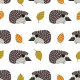 Wild animals collection Hedgehogs and leaves Seamless pattern Stock Photography