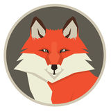 Wild animals collection Portrait of a red fox Geometric style icon round. Set stock illustration