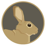 Wild animals collection Rabbit Geometric style icon round Royalty Free Stock Photo