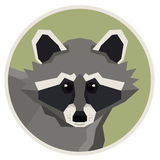 Wild animals collection Raccoon Geometric style icon round Royalty Free Stock Image